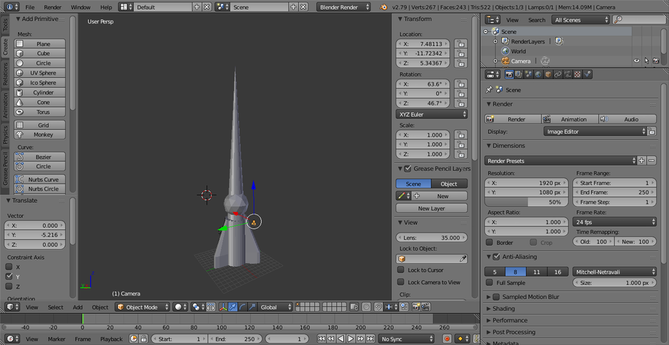 Low poly rocket 3D Print 186698