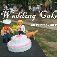 Small Plastic Wedding Cake = 3D Printed + 3D Pen 3D Printing 187778