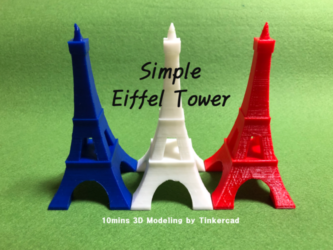 Simple Eiffel Tower - 10mins Modeling 3D Print 187794