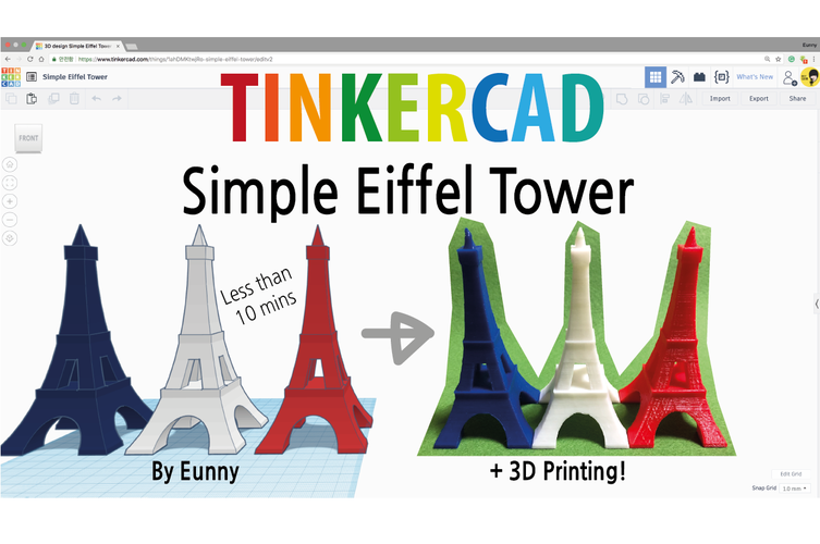 Simple Eiffel Tower - 10mins Modeling 3D Print 187795