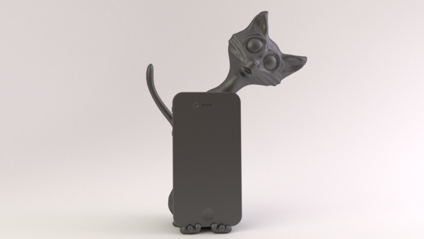 Medium Cat Phone Stand 3D Printing 18883