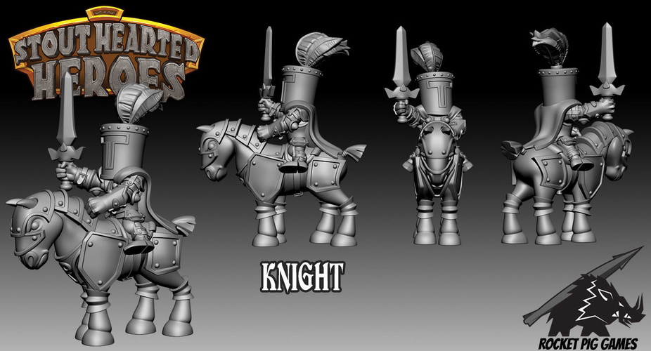 Rocket Pig Games Castle Guard Mounted Knight 3D Print 189011