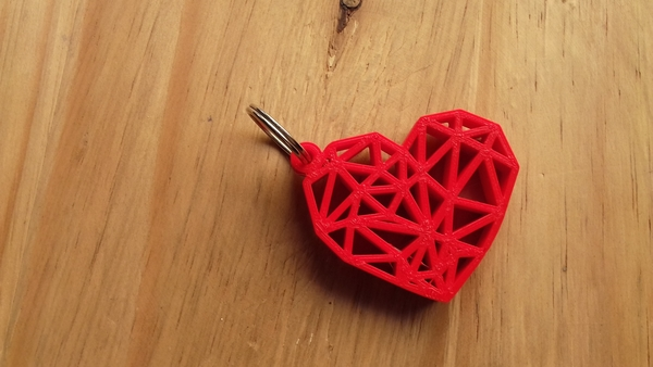 Medium Geometric Heart Key Ring 3D Printing 189249