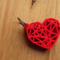 Small Geometric Heart Key Ring 3D Printing 189249