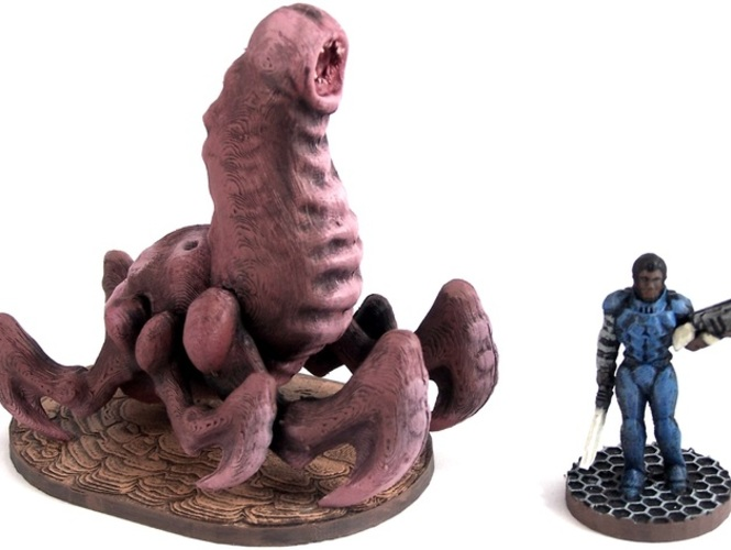 Cave Worm, 28mm Miniature 3D Print 1893