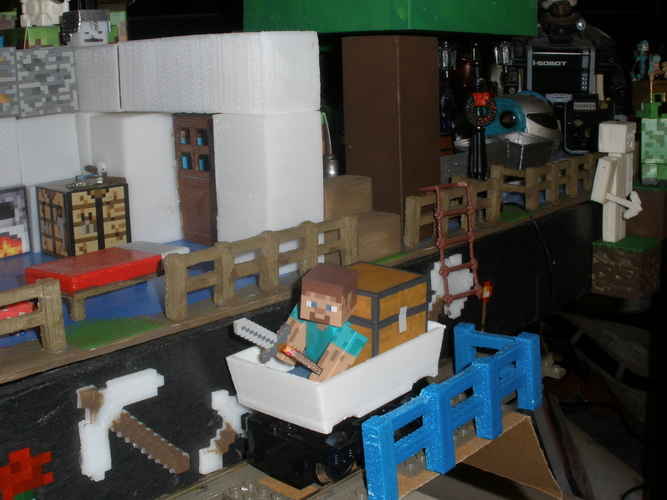 Mine Cart for LEGO Train scale to Minecraft toy Steve. 3D Print 18970