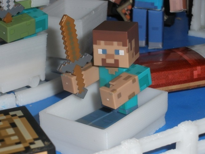 Boat from Minecraft scaled to Minecraft figures sold in stores 3D Print 18993