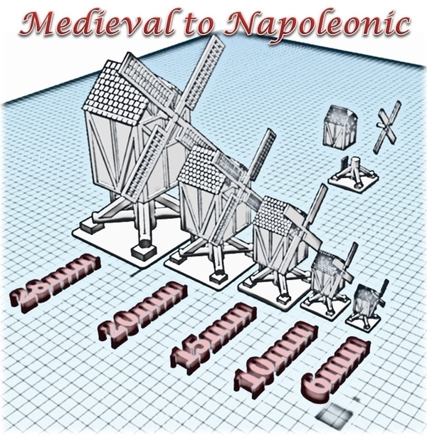Medium Windmill - Wargame medieval to napoleonic 3D Printing 189938