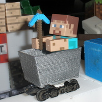 Small Mine cart for Minecraft toy figures 3D Printing 18996