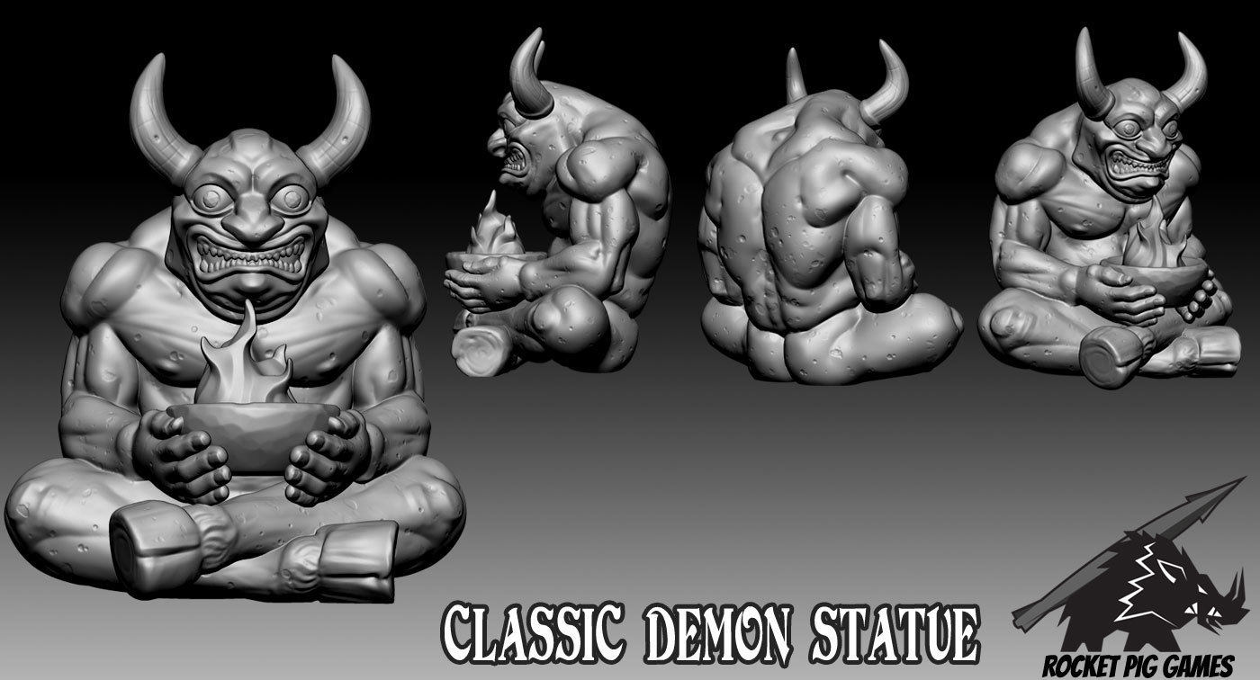 Rocket Pig Games Classic Demon Statue 3D Print 190110