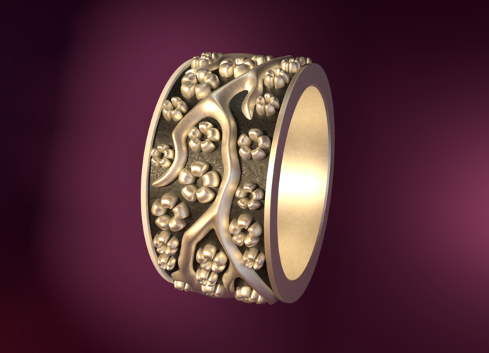Ring with flowers 3D Print 190155