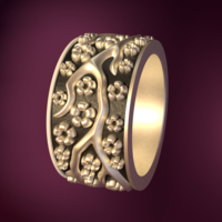 Small Ring with flowers 3D Printing 190155