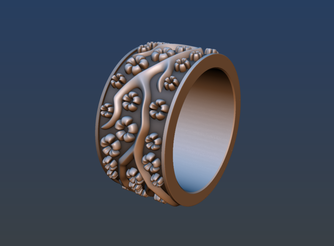 Ring with flowers 3D Print 190156
