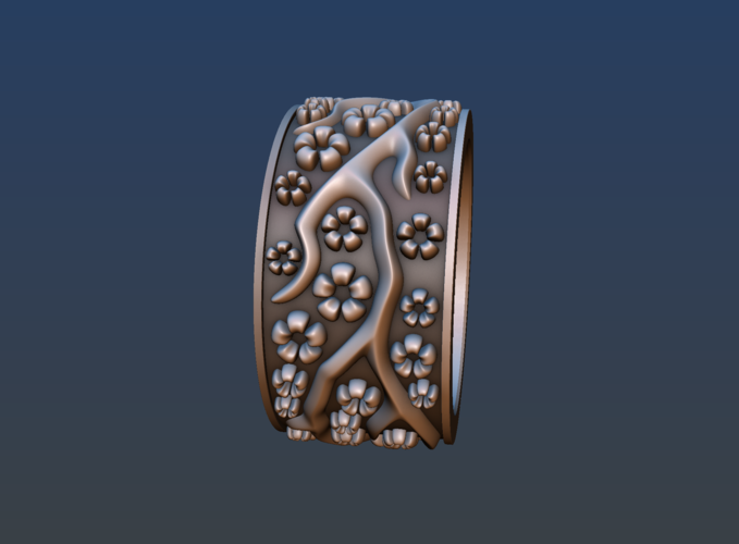 Ring with flowers 3D Print 190157