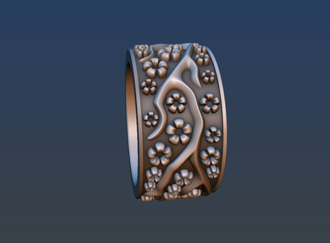 Ring with flowers 3D Print 190158