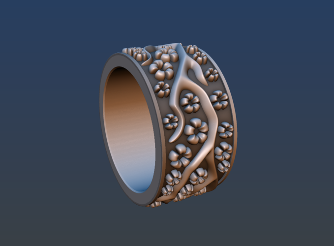 Ring with flowers 3D Print 190159