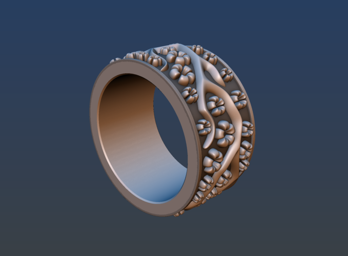 Ring with flowers 3D Print 190160