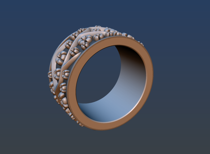 Ring with flowers 3D Print 190162
