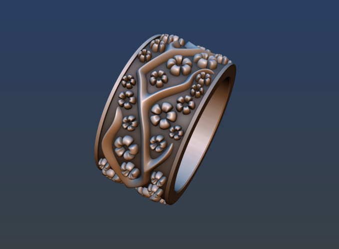 Ring with flowers 3D Print 190163