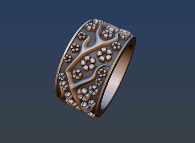 Ring with flowers 3D Print 190164