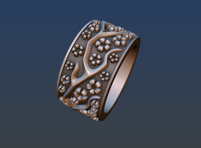 Ring with flowers 3D Print 190165