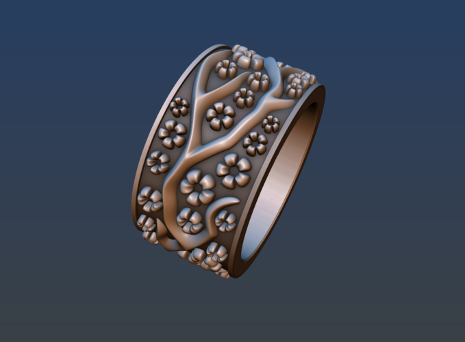 Ring with flowers 3D Print 190166