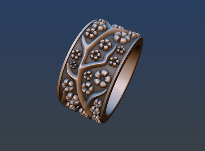 Ring with flowers 3D Print 190167