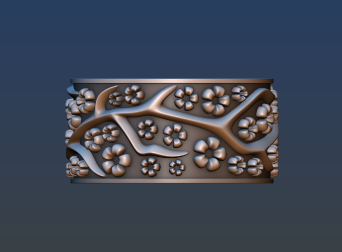 Ring with flowers 3D Print 190169