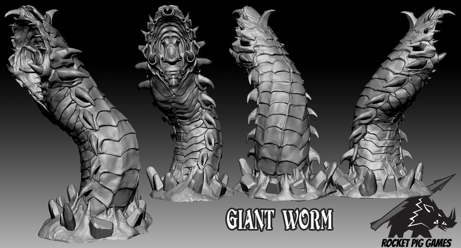 Rocket Pig Games Giant Worm 3D Print 190507