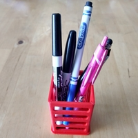 "Small Pen/Pencil Holder - 2"" x 2"" x 3"" - Simple Slotted Design 3D Printing 191180"