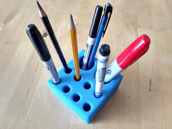 "Pen/Pencil Holder - 3.5"" x 3.5"" x 2"" Simple Block Design 3D Print 191200"