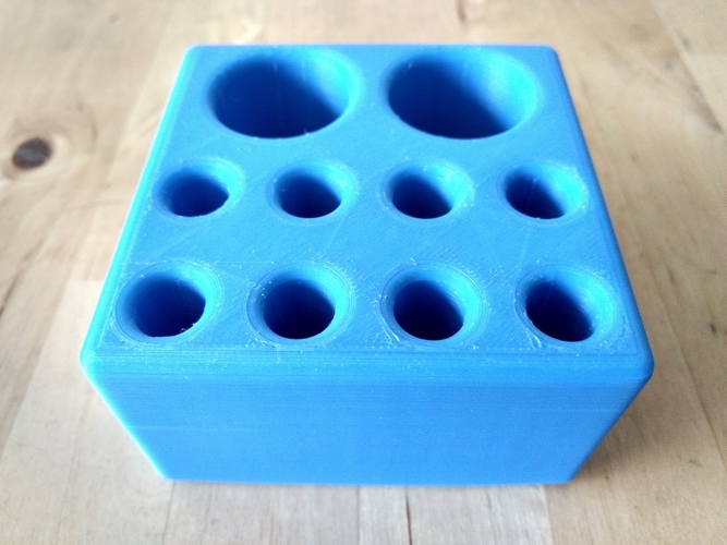 "Pen/Pencil Holder - 3.5"" x 3.5"" x 2"" Simple Block Design 3D Print 191203"