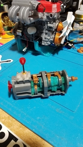 1/10 Scale working 5 speed transmission for 1/10 22RE motor 3D Print 191421