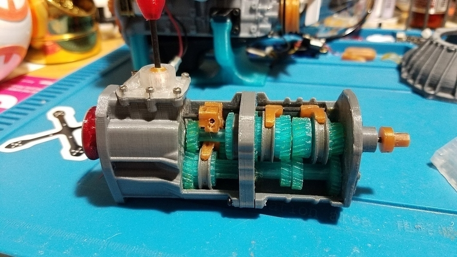 1/10 Scale working 5 speed transmission for 1/10 22RE motor 3D Print 191423