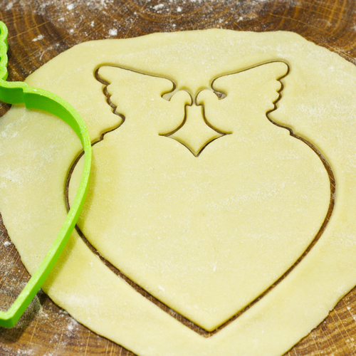 Heart with doves cookie cutter for professional 3D Print 191439