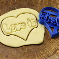 Small Stamp LOVE IS cookie cutter for professional 3D Printing 191477