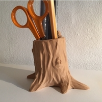 Small Low Poly Tree Stump Pen Holder 3D Printing 191650