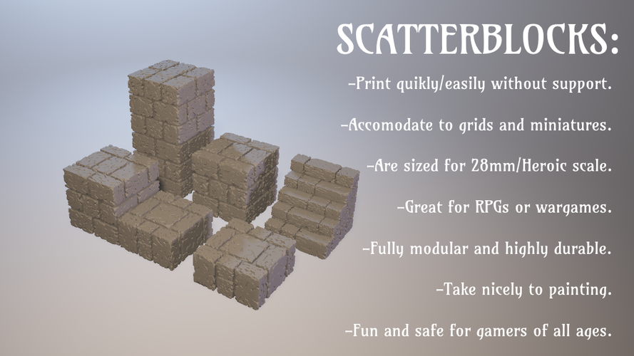 ScatterBlocks: Cyclopean Stone (28mm/Heroic scale) 3D Print 192069