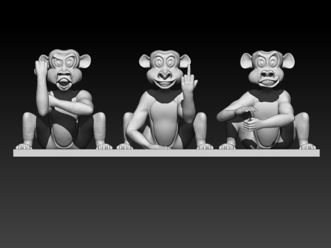 Rude Monkeys 3D Print 192126