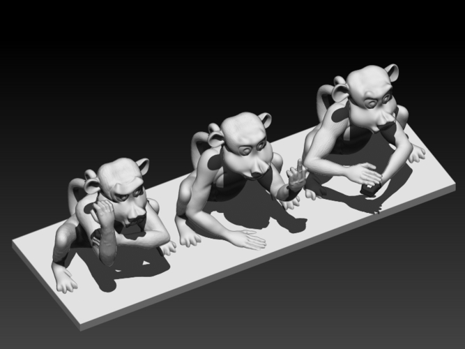 Rude Monkeys 3D Print 192128