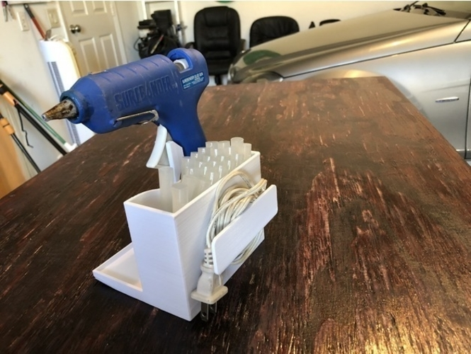 Glue Gun Caddy Stand w Cord Wrap 3D Print 192651