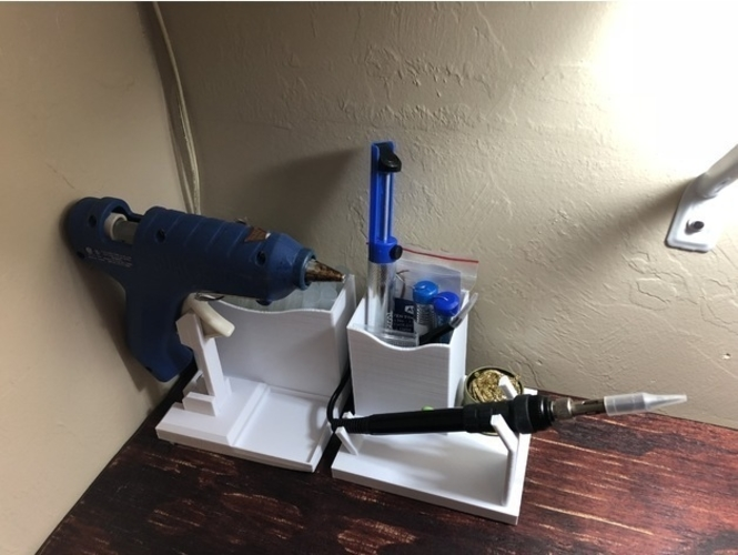 Glue Gun Caddy Stand w Cord Wrap 3D Print 192653