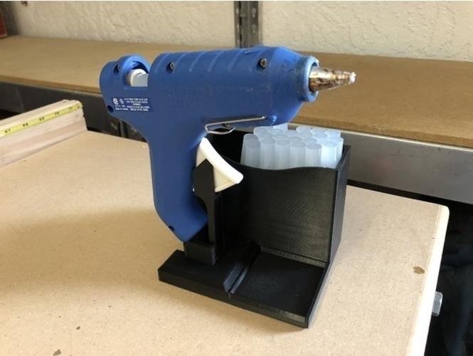 Glue Gun Caddy Stand w Cord Wrap 3D Print 192654