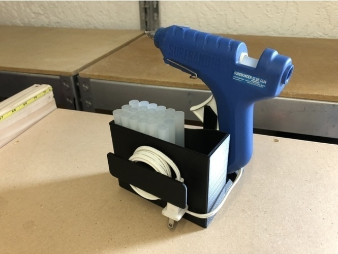 Glue Gun Caddy Stand w Cord Wrap 3D Print 192655
