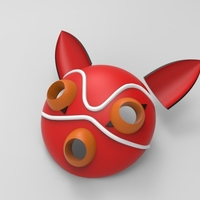 Small Mononoke Mask + Ears 3D Printing 192772