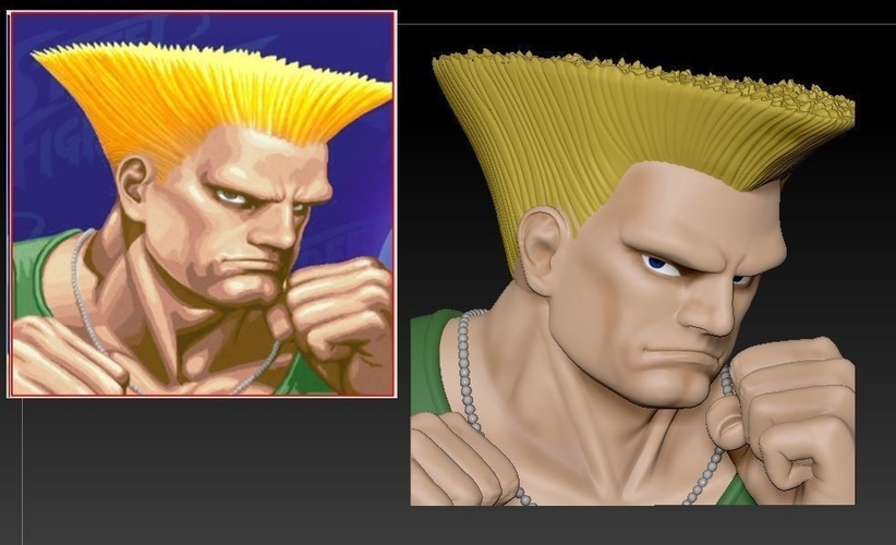 3d Printed Guile From Street Fighter 2 By Nikko3d Pinshape