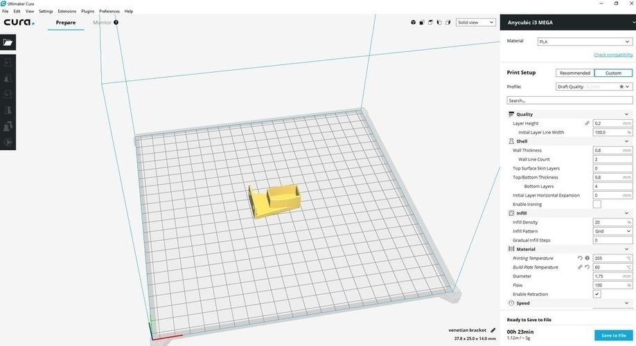 3D Printed 25mm Venetian blinds bracket by D_Wizard | Pinshape