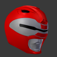 Small power rangers the movie red ranger helmet with scanner  3D Printing 193708