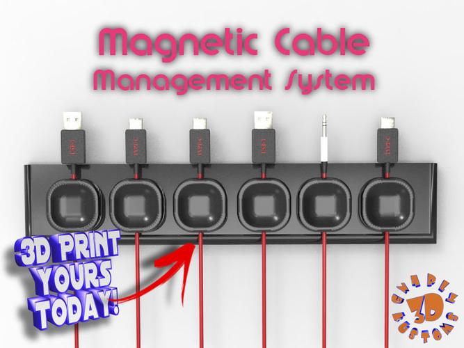 Magnetic Cable Management System 3D Print 194579