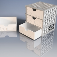 Small Modular Drawer-Box with hexagonal pattern 3D Printing 194759